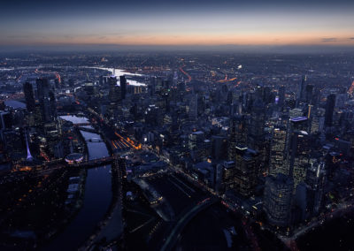 Melbourne cityscape aerial view