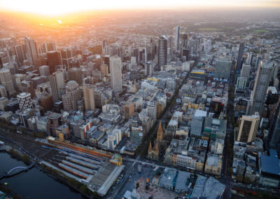 Melbourne sunset aerial 2