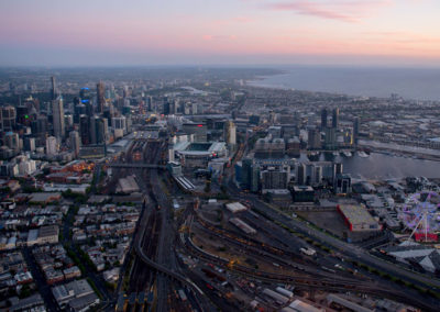 Melbourne sunset aerial