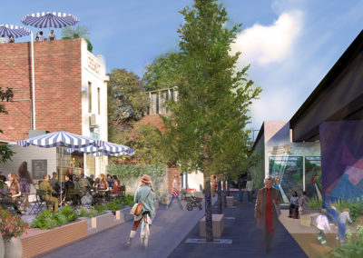Theatre Place and Laneways design concept render by Scenery
